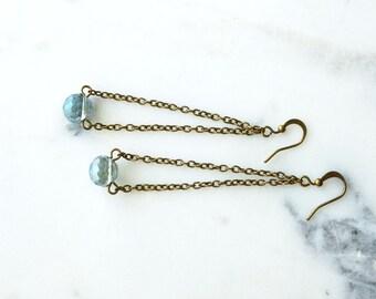 Earrings,  Brass and Crystal dangle earrings Bridal, Bridesmaid jewelry