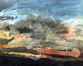 NORTHERN SUNSET - Scotland - Watercolour and Wax Original - Weather Painting - Mountain Scenery - Landscape Painting - ElizabethAFox