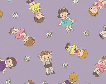 DOLLS: Quilt Gate Fabric in Lavender - Japanese Import  (Per 1/2 Yd)