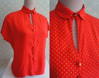 Valentino designer red silk vintage Blouse. Designer Clothing late 70s - early 80s.