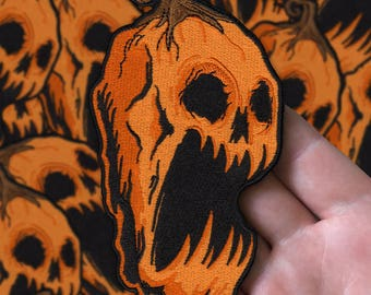 Embroidered Screaming Pumpkin Patch
