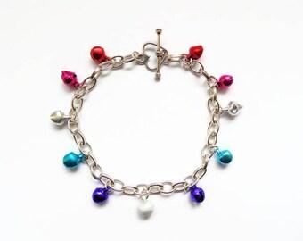 Christmas bell bracelet, Christmas bracelet, jingle bells, Christmas jewellery, holiday bracelet, charm bracelet, Xmas bracelet,