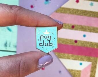 Pug pin, pug, pug gifts, Pug Club lapel pin, pug gift, pug brooch, pug pin, enamel pin, pastel pin badge, blue pug pin