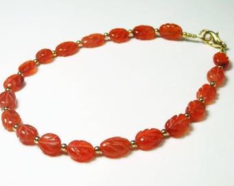 Carved Carnelian Bracelet - Gemstone Bracelet - Orange Bead Bracelet - Carved Leaf Beads - Single Strand - Small Bead Bracelet - Plus Size