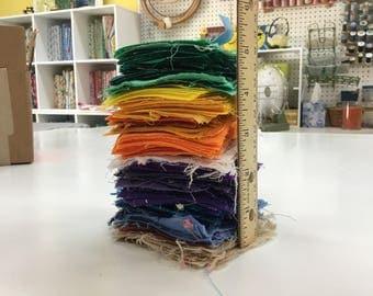 Huge Lot Feedsack and Vintage 2 1\2 inch Quilt Squares