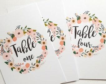 Floral Wreath Table Numbers  1 to 12 | Printed Wedding Table Number Cards | Printed Table Numbers Set | Garden Wedding