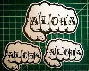 ALOHA Knuckle Tattoo Sticker 3 Pack!!  ONE (3.5 x 4.75in) & TWO (2.5 x 3.4in)