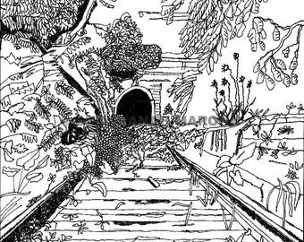 Abandoned Railroad Tunnel, Pen and Ink Print Digital Download