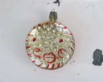 Vintage Soviet Sun Christmas tree decoration, Glass Ornament, Christmas decor, Retro Tree decoration, Made in USSR