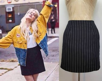 90s Vintage Pinstripe Mini Skirt
