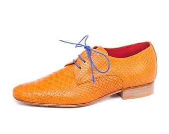 Men's Oxford Shoes - Wedding Shoes - Groom Orange Shoes - Businessman Flat Shoes - Leather Shoes - Men Handmade Derby Shoes - Aramashoes -
