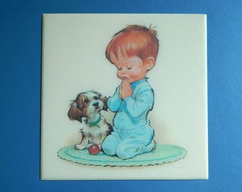 """8 1/2"""" x 8 1/2"""" 1962 Pete Hawley Vintage Celluloid Plastic Wall Picture Boy Praying + Dog"""