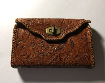"5"" x 7"" Embossed Brown Leather floral Womens Vintage Clutch Purse"