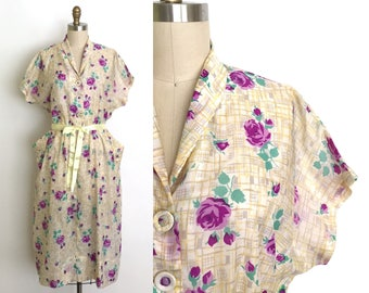 RESERVED vintage 1940s dress | 40s rose print day dress