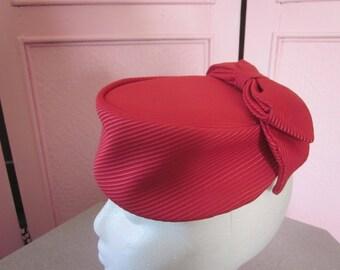 1950s Burgundy Satin Faille Pillbox Hat
