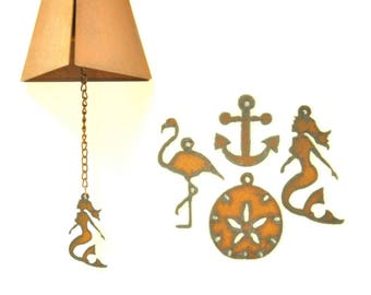 Rusty Wind Chime With Coastal Themed Charm Assortment