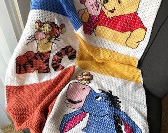 Handmade crochet winnie the pooh and friends cross stitch Afghan piglet eeyore tigger