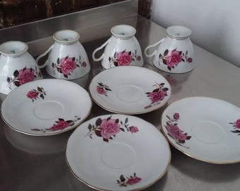 4 Four Set Vintage Bone China Cup and Saucer Pink Rose