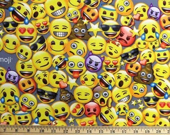 All the Emoji Funny Faces David Textiles Fabric #6122 By the Yard