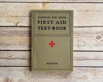 American Red Cross First Aid Text Book Nurse Gift Graduation Med School 1940s Medical Text Book Vintage Red Cross Book First Aid Vintage 40s