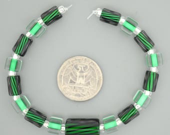 Matched Set of 17 Furnace Glass Cane Beads, Green and Green with Black stripes.