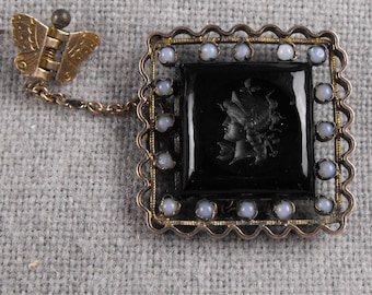 Diana Goddess of the Hunt the Moon and Nature Intaglio Cameo with Moonstones