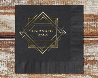 Art Deco Wedding Personalized Cocktail Wedding Napkins, Paper Napkins For Wedding, 3-Ply Paper Napkins, Let's Personalize An Order For You