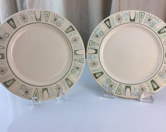 Taylor, Smith and Taylor Co Atomic Mid-century Cathay plates, Set of 2
