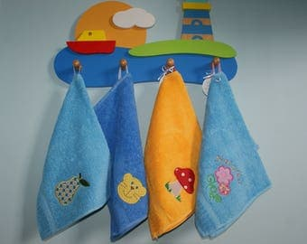 Personalized towel for kid, Towel with toadstool applique and name, Small hand towel