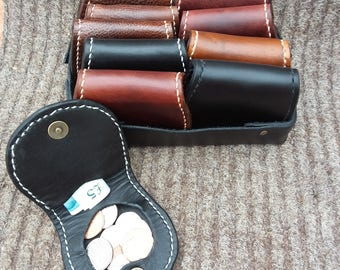 Hand stitched leather coin purse