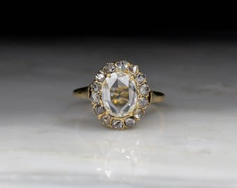 Antique Victorian Cluster Engagement Ring with Oval Rose Cut Diamond Center  and Diamond Halo in 18KVintage Engagement Rings   Etsy. Etsy Vintage Wedding Rings. Home Design Ideas