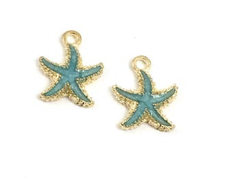 2 blue starfish enamel and gold tone 18mm #CH 055
