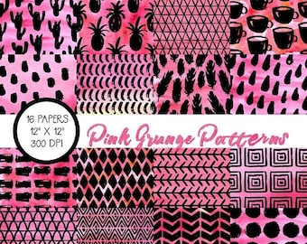 ON SALE Watercolor Scrapbook Papers, Pink and Black, Digital Papers, Digital Paper Pack, Digital Wallpaper
