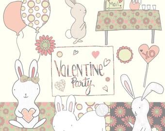 Valentine Bunny Clipart, Cute Bunny Clipart, Valentine, Love, Bunnies, Hand Drawn, Illustration, Cute, Clipart