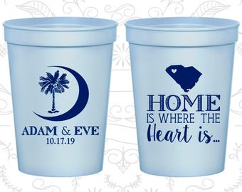 Palmetto Tree Cups, Wedding Cups, Crescent Moon, South Carolina Palmetto, Palmetto Moon, Souvenir Stadium Cups (378)