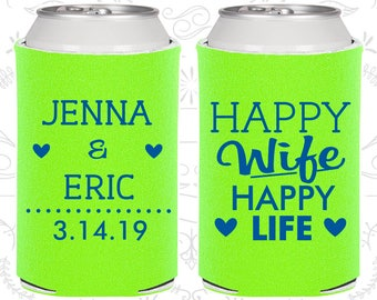 Lime Green Wedding, Lime Green Can Coolers, Lime Green Wedding Favors, Lime Green Wedding Gift, Lime Green Party Decorations (393)