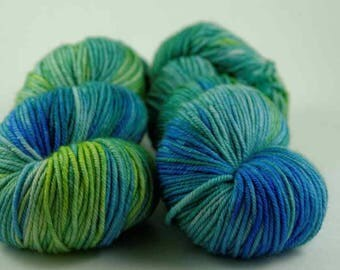 Hand Dyed Yarn - MCN Worsted- 'Parakeet' - 200 yards - 80/10/10 Superwash Merino/Cashmere/Nylon