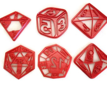 RPG Role Playing Game dice cookie cutter set D4 D6 D8 D10 D12 D20