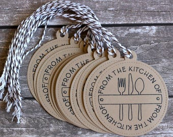 From The Kitchen Of Handmade Tags - Set of 12 - Hand Stamped - Brown Gift Tags - Baked Goods - Treat Tags - Baking Tags