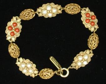 Florenza Link Bracelet with 2 Colors Beads Vintage
