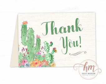 Succulent Thank you Cards, Succulent Baby Shower cards, Succulent Thank yous, Succulent Greeting card, PRINTABLE FILE HM444