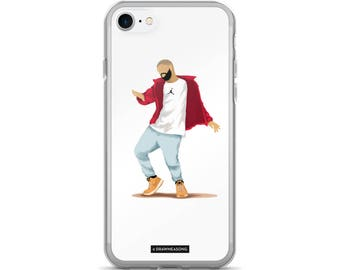 Hotline Bling Drake iPhone 7/7 Plus Case, Dance Tutorial Illustration, Fun Pop Art, Dance Music Funny Drawing, Fan Art (3)