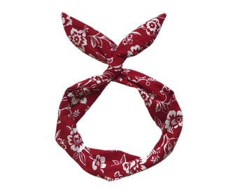 Crimson and White Floral Wire Headband
