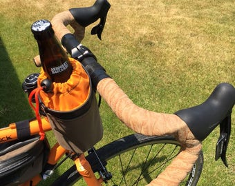 BAR BUCKET , handlebar mounted carrier for your water bottle or beverage made from used bike inner tubes