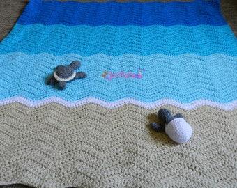Sea Turtle Blanket - Crochet Sea Turtle - Turtle Blanket - Photo Prop - Photography Prop - Turtle Baby Blanket - Turtle Egg - Stuffed Turtle