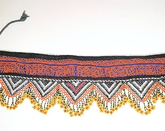 Colourful Hand Beaded Tribal Belly Dance Belt with Cowrie Shells and Gul Medallions. Orange, Black & Blue