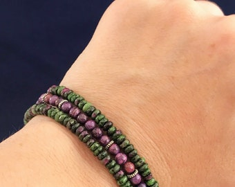 Anyolite and crazy lace purple agate triple strand bracelet, green and purple bracelet