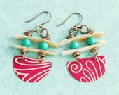 Tribal Style Earrings with Vintage Tin and Shell Beads, Teal and Red and Antique Copper, Ethnic Jewelry, Ladder Earrings