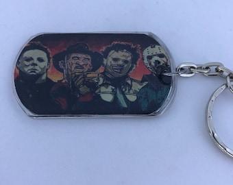 Michael Freddy Leatherface Jason Horror Handmade Dog Tag Keychain