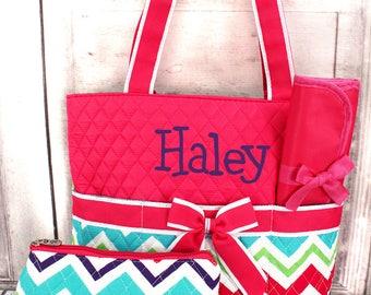 Diaper bag, Monogrammed diaper bag, Personalized diaper bag, Quilted diaper bag,d Girls diaper bag
